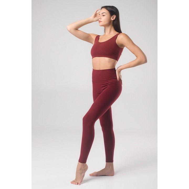 Гавана - Гатино женский спортивный комплект для йоги цвета бордо