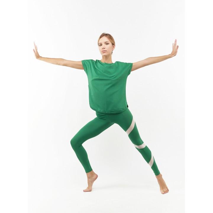 неаполь - лосины с сеткой зеленого цвета
