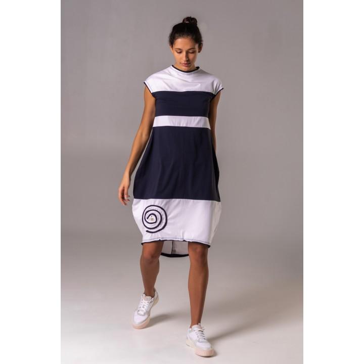 фюссен - платье-бочонок с белыми вставками