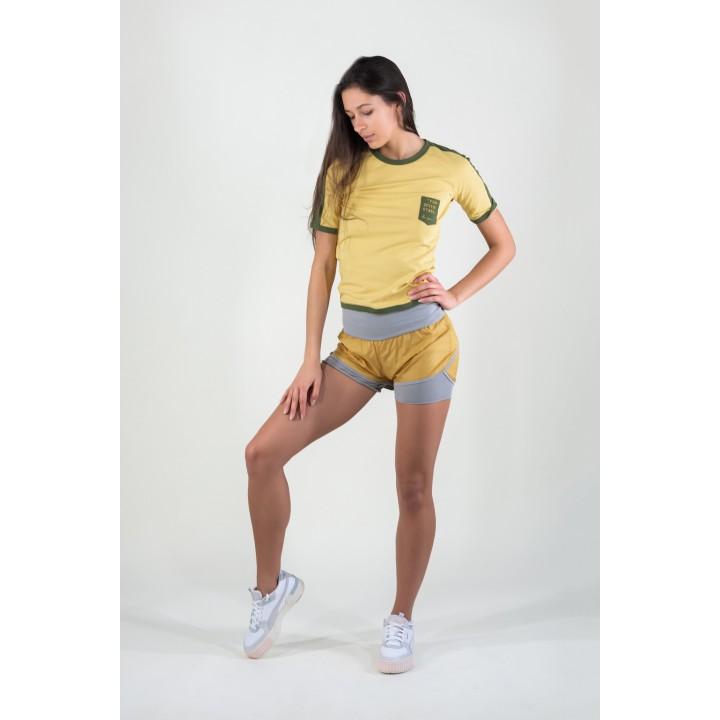 токио -желтые женские спортивные шорты с плащевкой